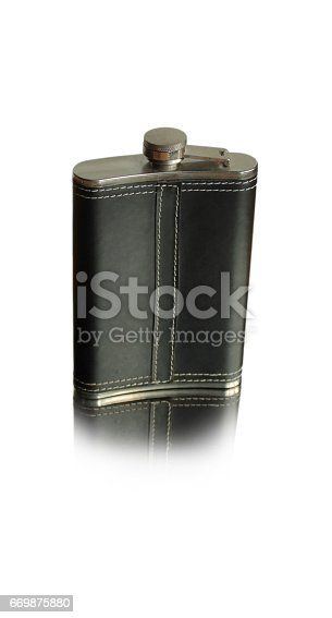 istock Black flask for alcohol 669875880
