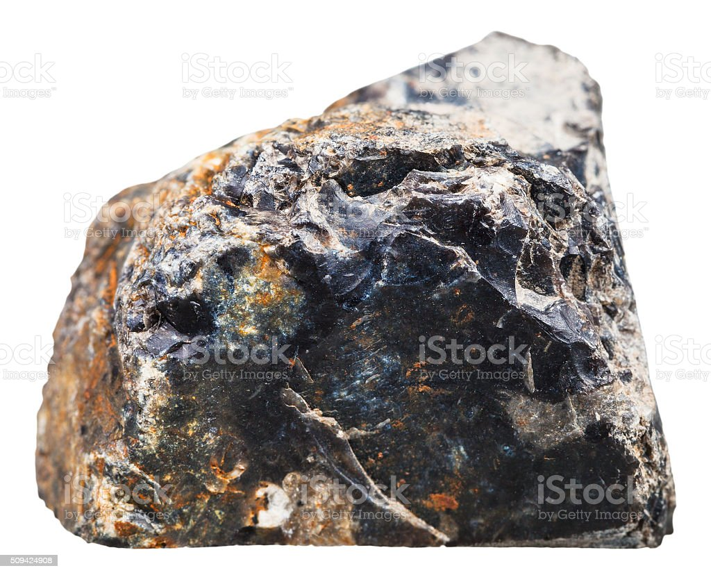 black flint (chert) steone isolated on white stock photo