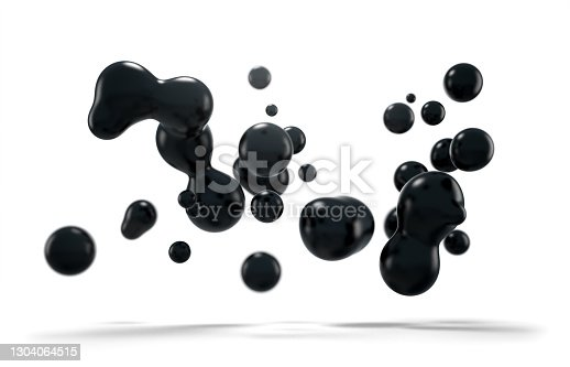 Black floating liquid blobs. Metaballs formation. Abstract 3d art background. Isolated on white