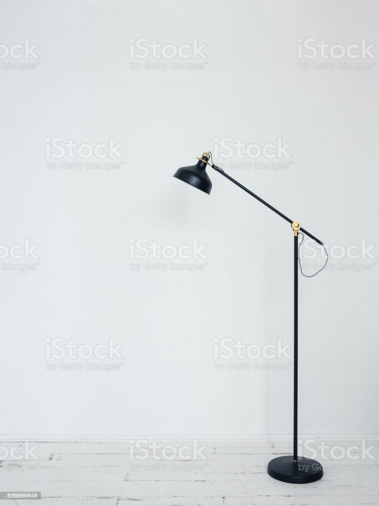 Black floor lamp in interior stock photo