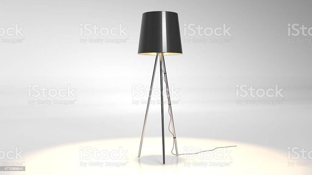 Black floor lamp on tripod isolated on white background stock photo
