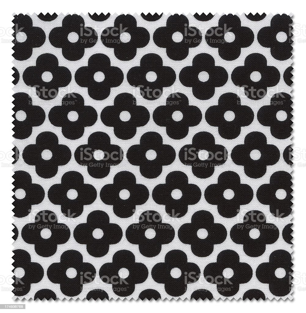 Black Flower Fabric Swatch (Clipping Path) royalty-free stock photo
