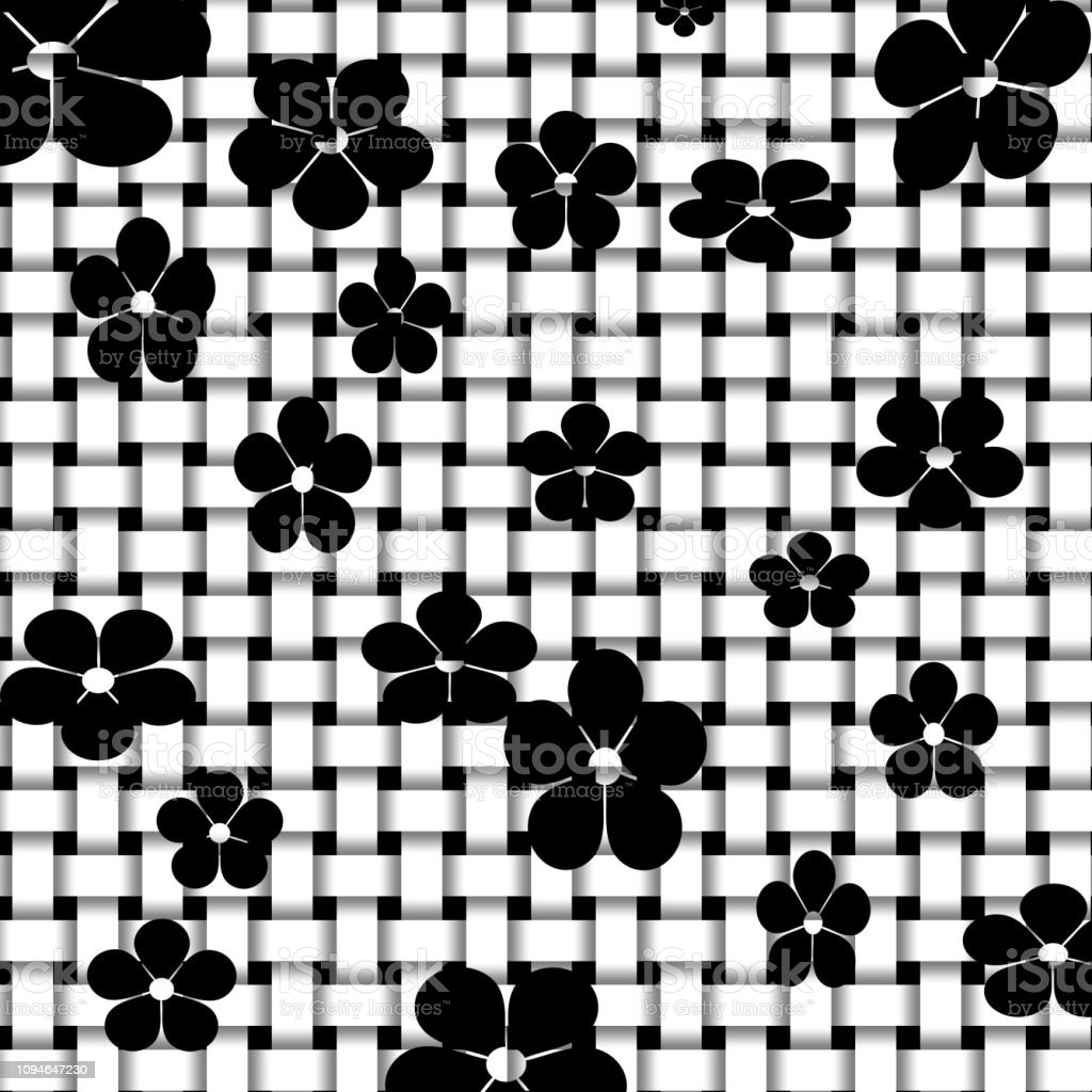 Black flowers on cross netted background stock photo