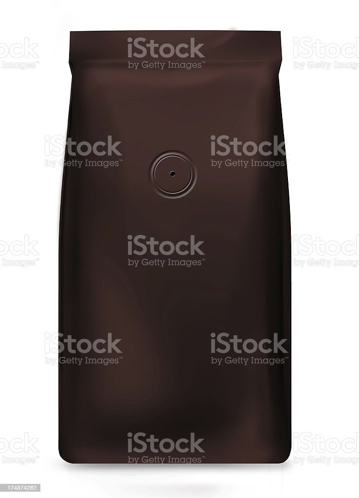 black foil bag with air valve isolated on white stock photo