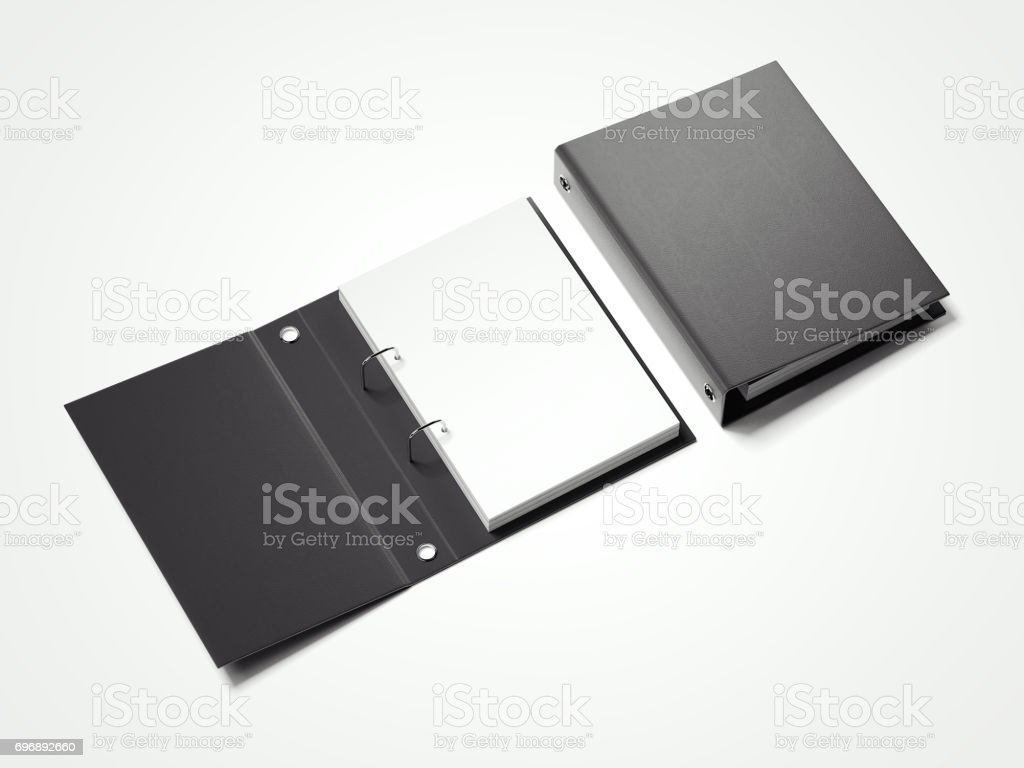 Black folder with white sheets. 3d rendering stock photo