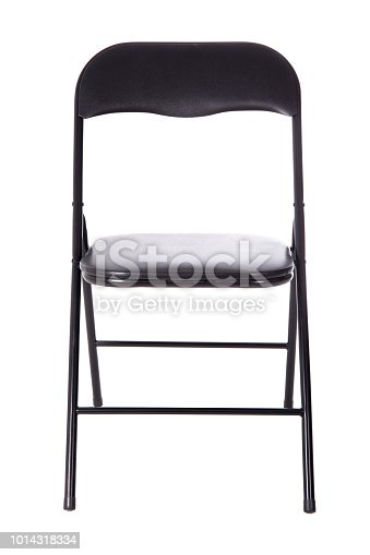 black folding office chair isolated on white background