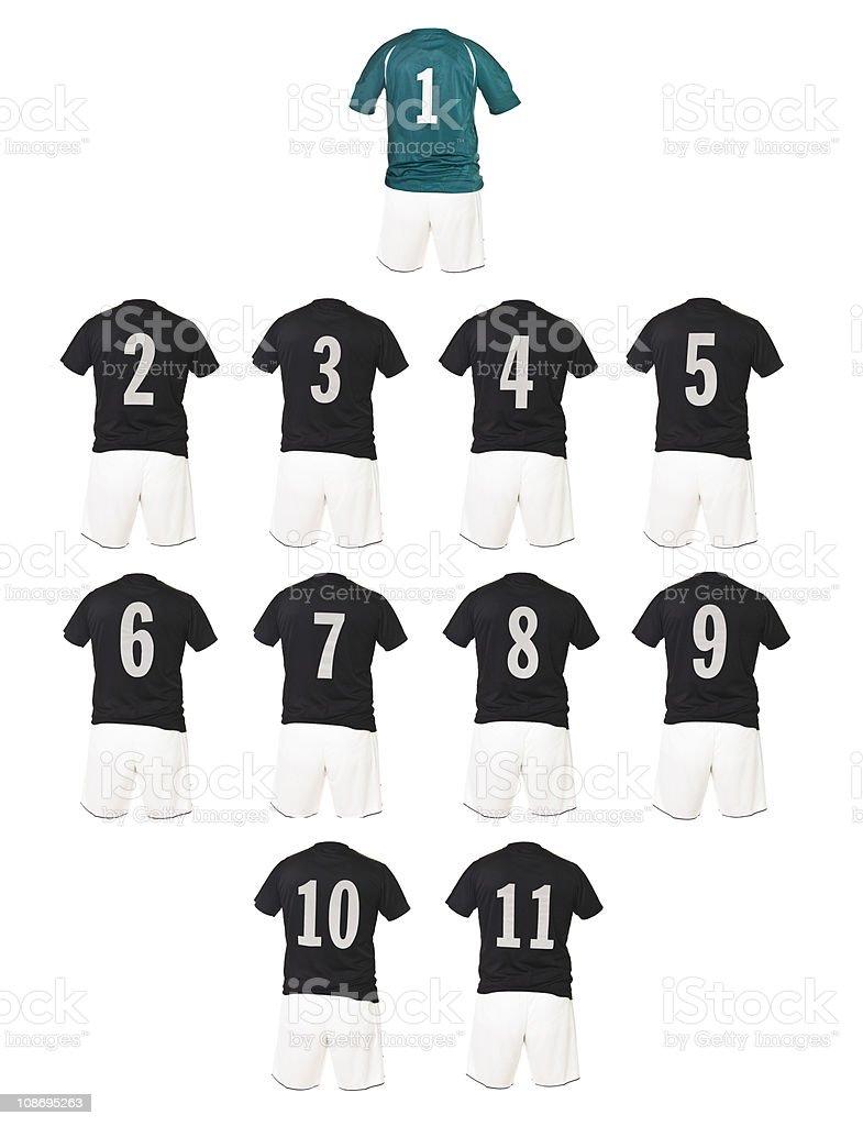 Black Football team shirts royalty-free stock photo