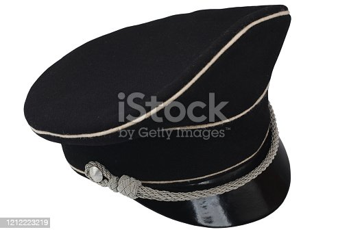 853330668 istock photo black forage cap with silver cord 1212223219
