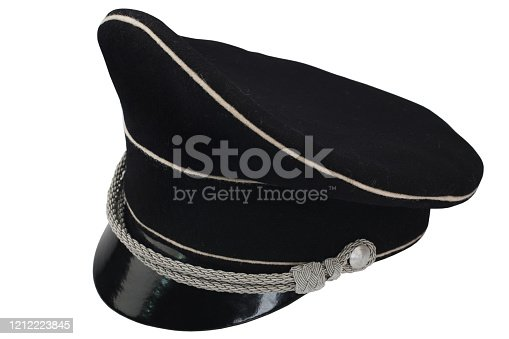 853330668 istock photo black forage cap with silver cord 1212223845