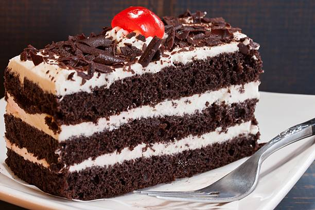 Black forest cake close up stock photo