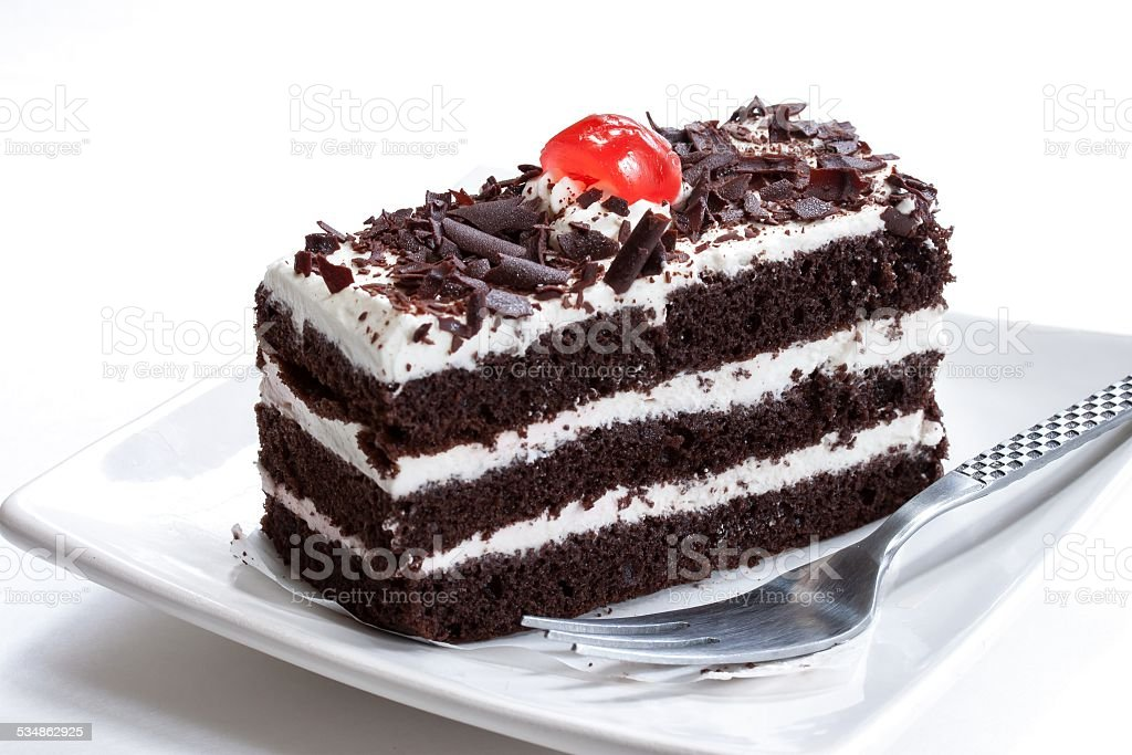 Black forest cake isolated on white stock photo