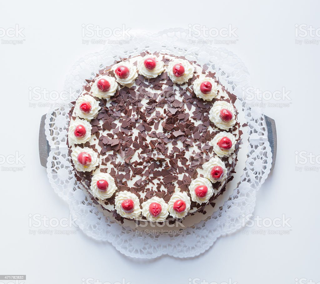 Black Forest cake on a white background stock photo