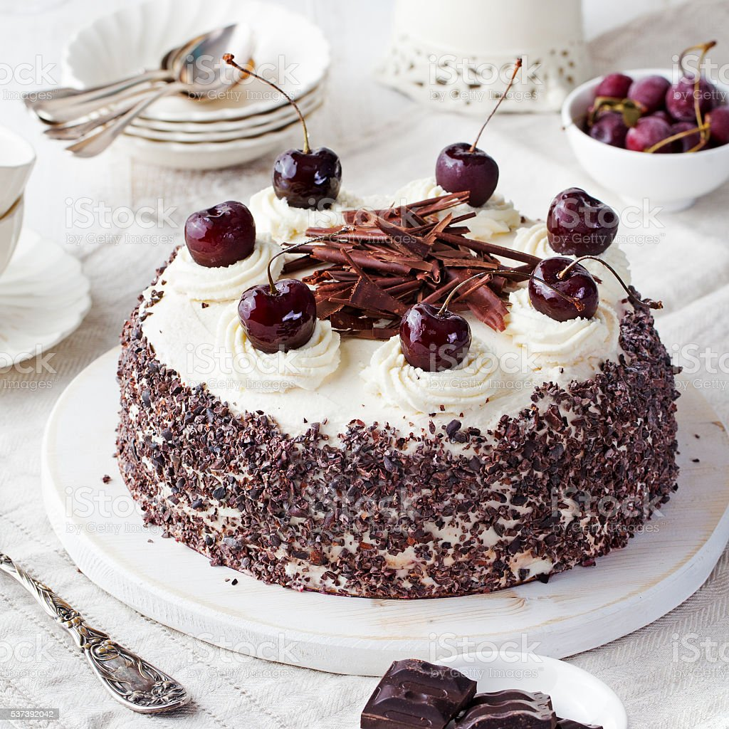 Black forest cake, Schwarzwald pie, dark chocolate and cherry dessert stock photo