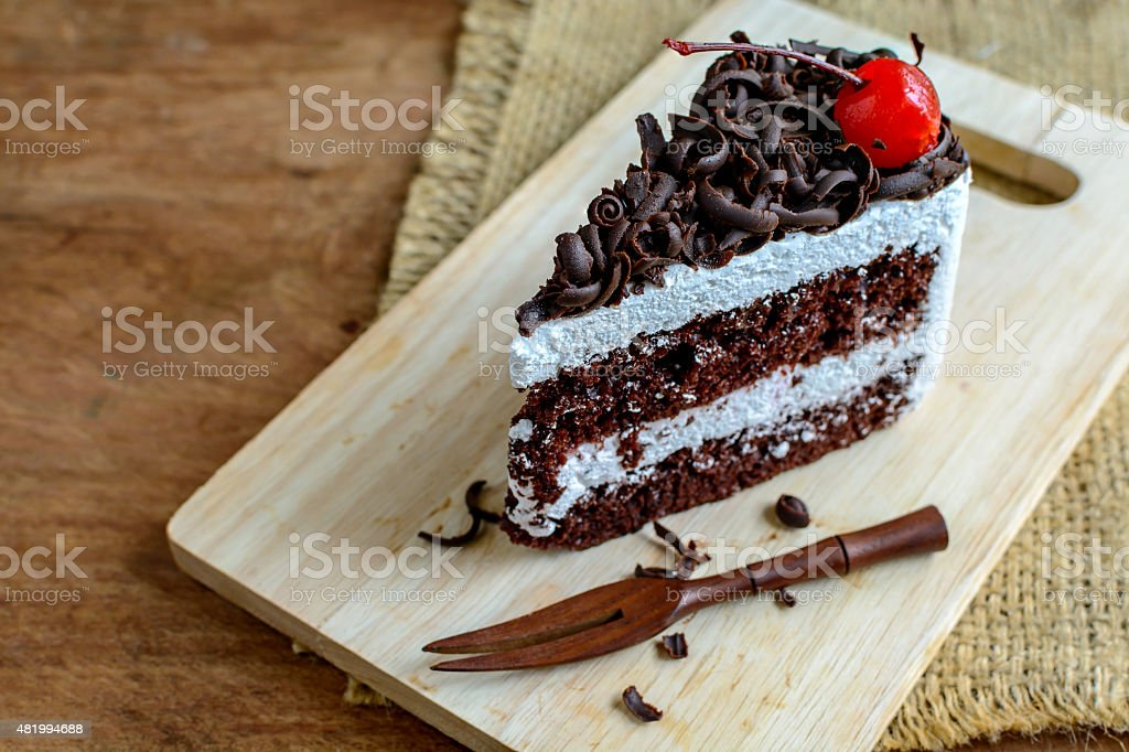 Black Forest, Chocolate cake on wooden table stock photo
