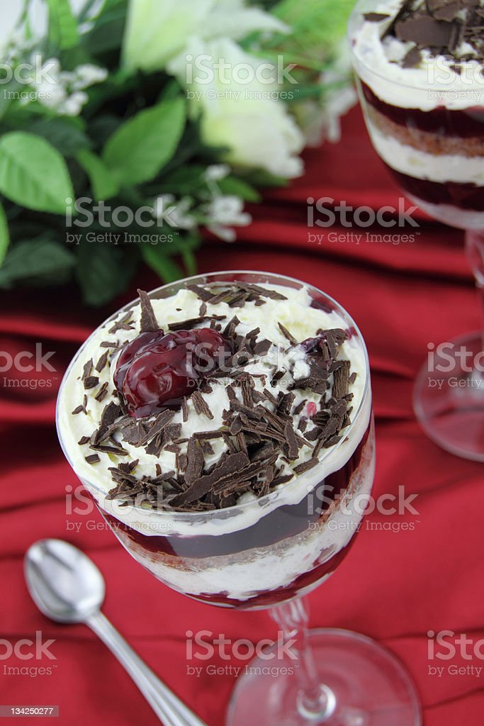 Black forest dessert cake stock photo