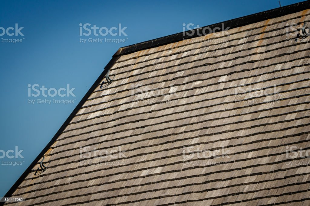 Black forest farm roof of wooden shingles stock photo