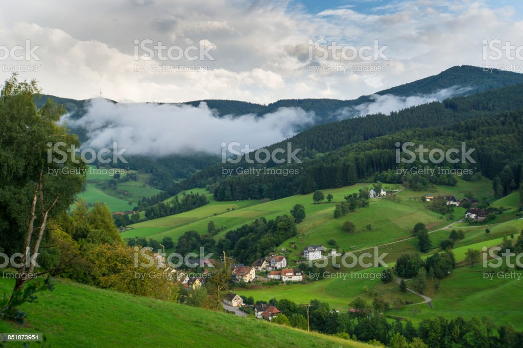Black forest Germany with little village from above at dawn with fog stock photo