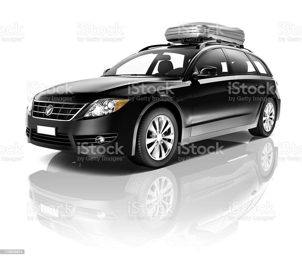 Black four door sport wagon with travel compartment on top stock photo
