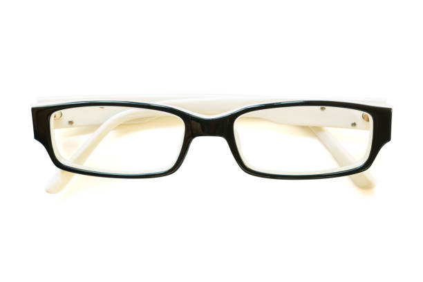 Black frame eye glasses on white background Photo of Black frame eye glasses on white background descry stock pictures, royalty-free photos & images