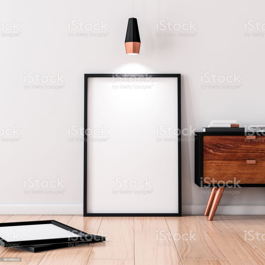 Black Frame Poster Mockup standing on the wooden floor stock photo