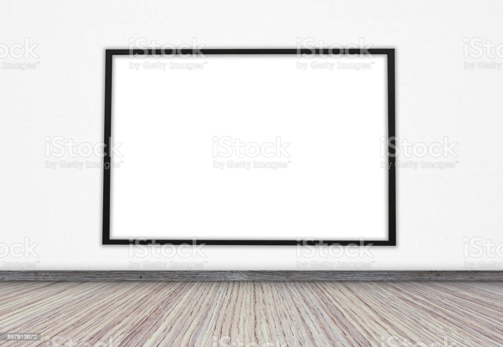 Black frame with a white screen on the wall for text or ideas stock photo
