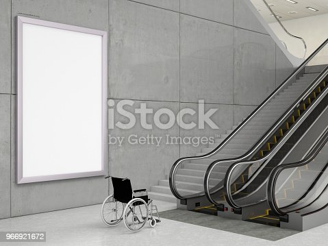 wheelchair with stairs and escalator