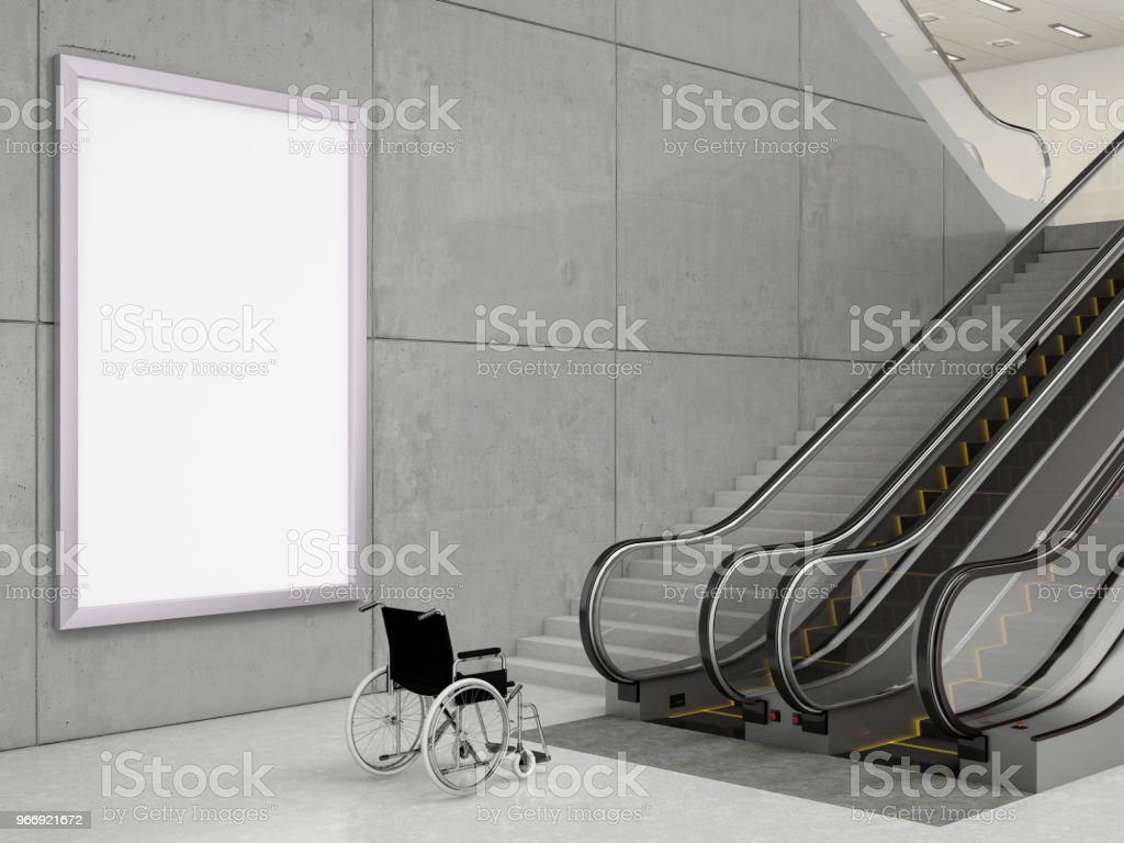 Black Frame with Wheelchair and Stairs stock photo