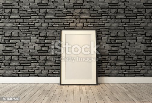 istock Black frames decor with black natural brick wall, background, template 504082860