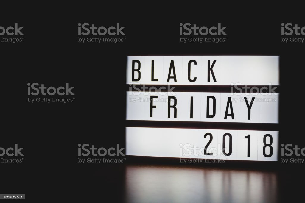 'Black Friday 2018' text in lightbox. stock photo