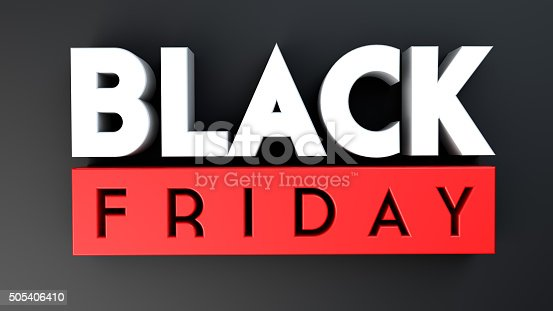 istock Black Friday 3D on black background 505406410