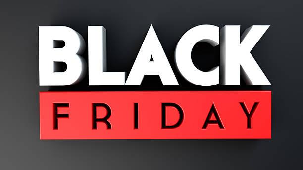 czarny piątek 3d na czarnym tle - black friday zdjęcia i obrazy z banku zdjęć