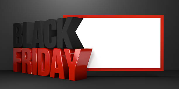 black friday 3d render black friday sale stock photo