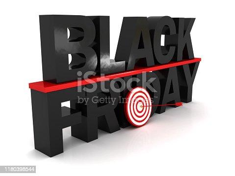 Black Friday and target concept. 3d image renderer