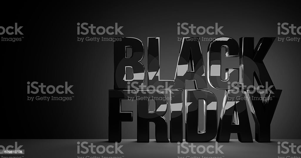black friday bold letters glossy design stock photo