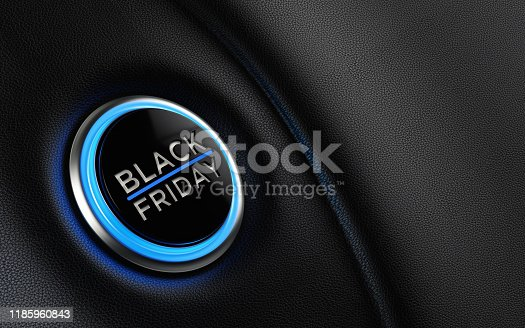 Black Friday car start button on dashboard. Horizontal composition with copy space and selective focus. Black Friday concept.