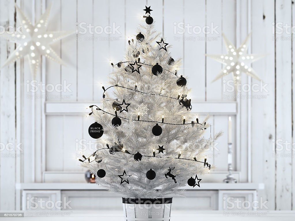 black friday christmas ball hanging on a christmastree. 3d rendering photo libre de droits