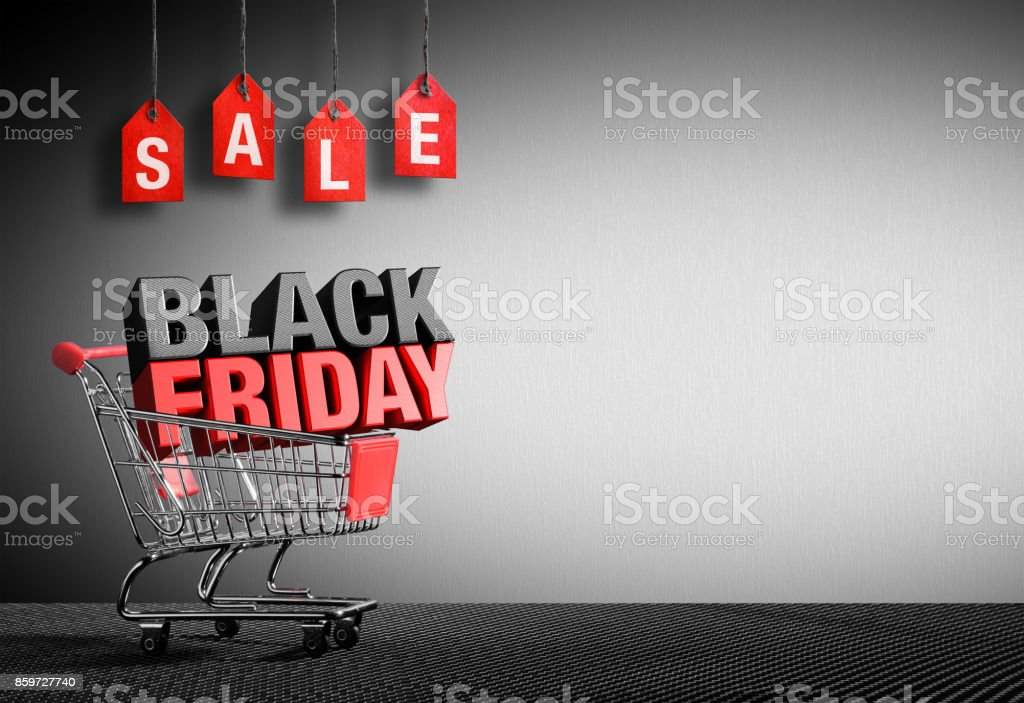 Black Friday Concept - 3D Text In Cart stock photo