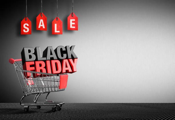 vendredi noir concept - texte 3d dans panier - black friday photos et images de collection