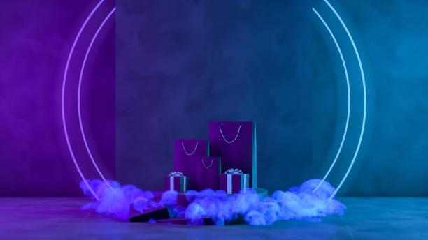 3d black friday concept, geschenkboxen und einkaufstaschen mit neonlichtern und rauch auf schwarzem grunge-hintergrund - neontasche stock-fotos und bilder
