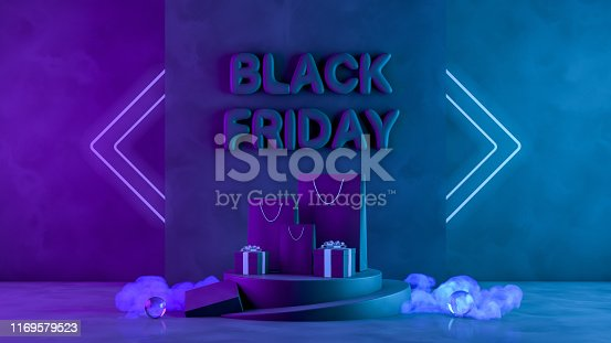 istock 3D Black Friday Concept, Gift boxes and Shopping Bags with neon lights and smoke on black grunge background 1169579523