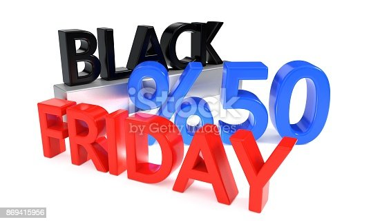 istock Black Friday discount of fifty percent, 3d rendering 869415956