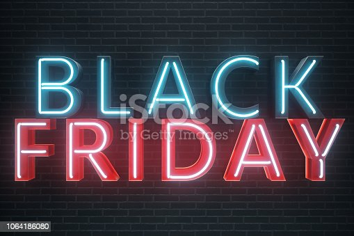 istock Black Friday - Friday with a big sale. Sales, joy, success. Blue and Red Glow Neon banner, discounts. 3D illustration 1064186080