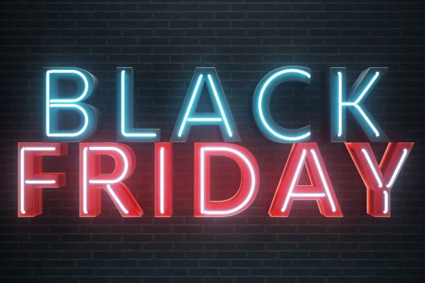 schwarzer freitag - freitag mit einem großen ausverkauf. vertrieb, freude, erfolg. blau und rot leuchten neon banner, rabatte. 3d illustration - heute ist freitag stock-fotos und bilder