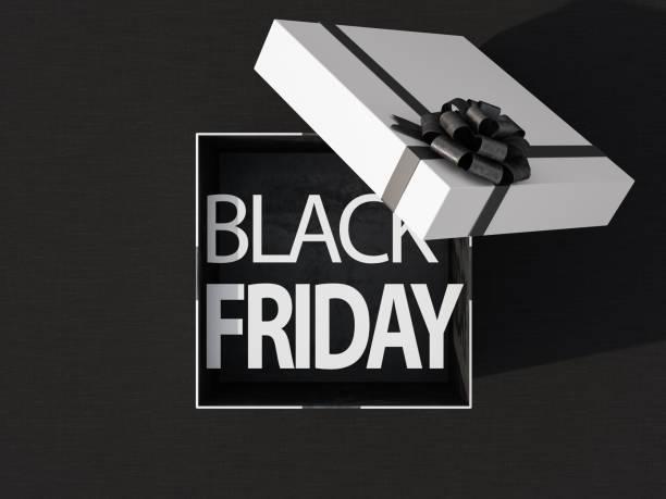 boîte cadeau black friday - black friday photos et images de collection