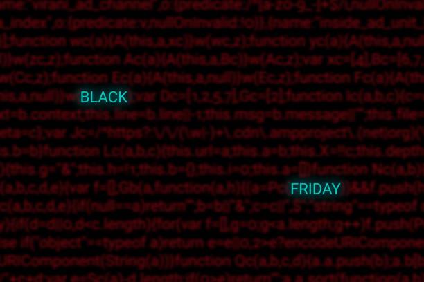 concept de hacker vendredi noir. ventes numériques en magasin marché. rouge programmation code arrière-plan flou. - titre mondial photos et images de collection