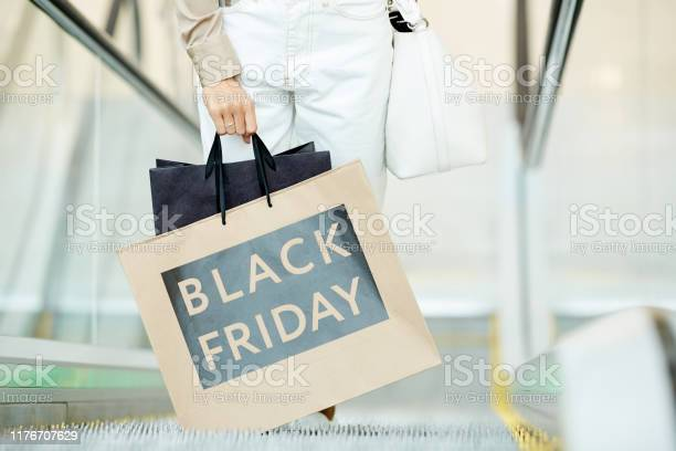 Black Friday In Shopping Mall Stock Photo - Download Image Now
