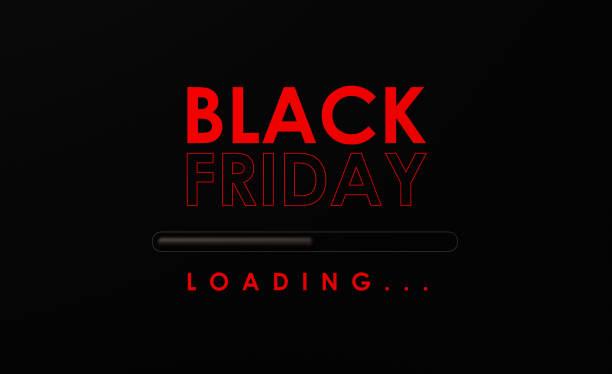 czarny piątek ładowanie na czarnym tle - black friday zdjęcia i obrazy z banku zdjęć