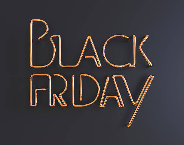 black friday metal neon text 3d illustration with copy space stock photo