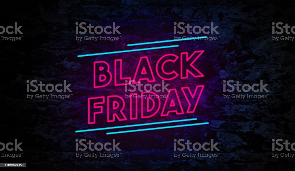 Черная пятница Неоновый знак на кирпичной стене - Стоковые фото Black Friday роялти-фри