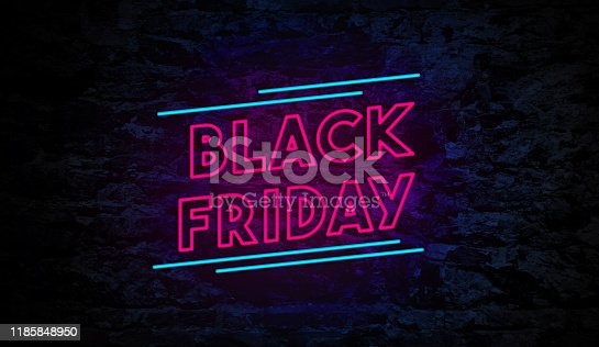 Black Friday Neon Sign on Brick Wall Background